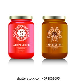Glass jar with with jam, confiture or honey. Vector illustration. Packaging collection. Label for jam. Bank realistic. Mock up  mason jar with design label or badges