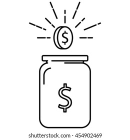 Glass jar for making donations and coin over. Danation line icon