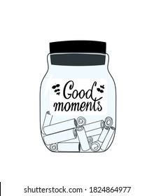 Glass jar with memories notes illustration. Collect moments. Positive thinking and mindfulness. Keeping good memories to support yourself. Good for cards, poster, article, sticker.