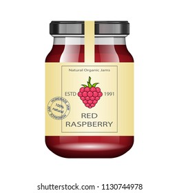 Glass jar with raspberry jam and configure. Vector illustration. Packaging collection. Vintage Label for jam. Bank realistic. Mock up glass jar with design label and logo.