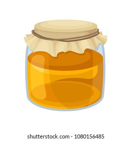 Glass jar of sweet honey. Natural and healthy product from apiary farm. Sweet food. Flat vector design for advertising poster or flyer