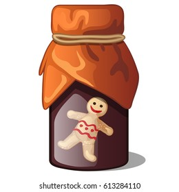 Glass jar of syrup, jam or confiture with ginger flavor isolated on white background. Jar with a picture of a gingerbread man closed with paper and rubber band. Vector cartoon close-up illustration.