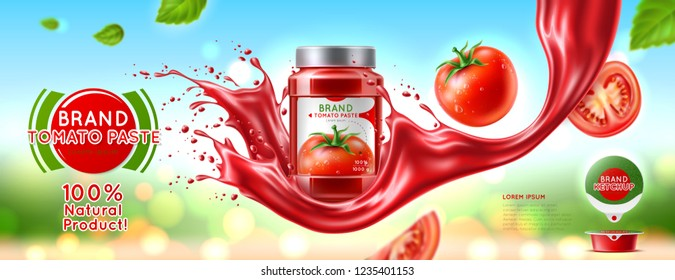 Glass jar with tomato paste, ketchup. Packaging design with label. Splash effect Realistic vector illustration