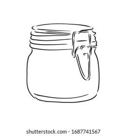 Glass jar , vector sketch illustration