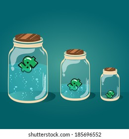 Glass jar with water and money vector illustration EPS-10.