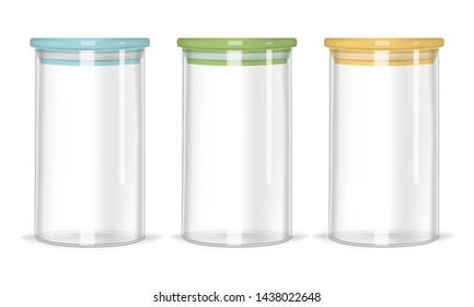 Glass jars with airtight seal colorful lids, realistic vector mockup. Clear empty food containers isolated on white background, template.