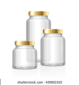 Glass Jars Bottles Empty Transparent. Small, Medium and Large. Vector illustration