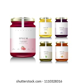 Glass jars with with jam or honey. Vector illustration. Packaging collection. Label for jam. Mock up jam jars with design labels