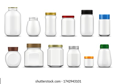 Glass jars with lids realistic mockup, vector food packages. Empty clear bottle containers and transparent pots with metal and plastic screw caps 3d template of food canning and storage design