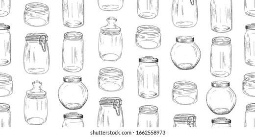 Glass jars seamless pattern. Vector illustration. Vintage design with hand drawn sketch. Line art style.