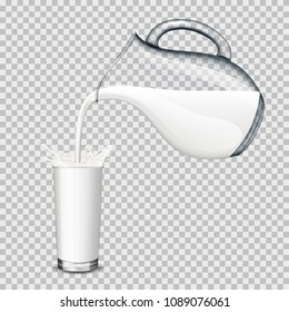 Glass jug and drinking glass with milk on transparent background, isolated.
