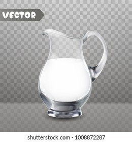 Glass jug with fresh milk on transparent background isolated vector illustration