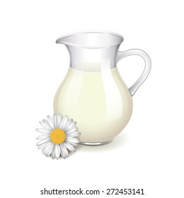Glass jug with milk, chamomile flower isolated photo-realistic vector illustration