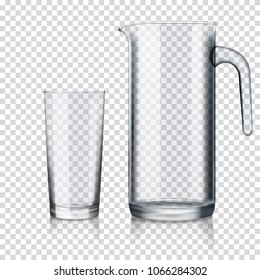 Glass jug on transparent background, isolated.
