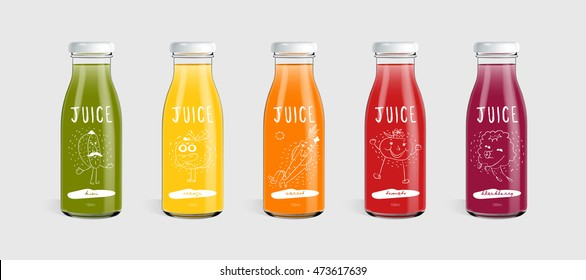 Glass juice bottle brand concept isolated on light gray background. Packaging vector