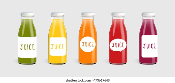 Glass juice bottle with label template ready for you design isolated on light gray background. Packaging vector