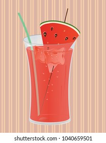 Glass of juice with ice and slice of watermelon in the glass