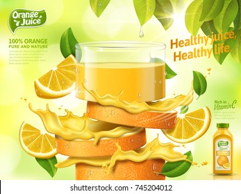 Glass of juice made from fresh sliced orange isolated on bokeh green background, 3d illustration bottle with label