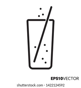 Glass of lemonade with drinking straw line icon. Outline symbol of refreshing drinks and beverages. Soft drink flat vector illustration.