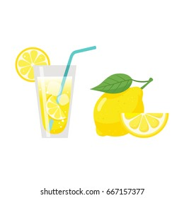 Glass of lemonade juice with straw,lemon slice and fresh lemon fruit