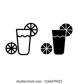 Glass with lemonade line and glyph icon. Drink vector illustration isolated on white. Coktail with lemon outline style design, designed for web and app. Eps 10.