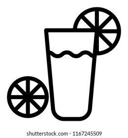 Glass with lemonade line icon. Drink vector illustration isolated on white. Coktail with lemon outline style design, designed for web and app. Eps 10.
