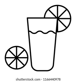 Glass with lemonade thin line icon. Drink vector illustration isolated on white. Coktail with lemon outline style design, designed for web and app. Eps 10.