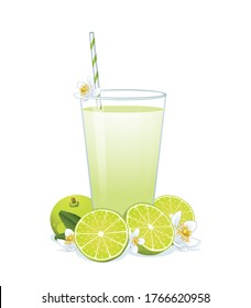 Glass of lime juice ,limes and blossom isolated on white background.