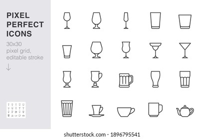 Glass line icon set. Drink glassware type - beer mug, whiskey shot, wineglass, teapot minimal vector illustration. Simple outline sign of cocktail, beverage. 30x30 Pixel Perfect, Editable Stroke.