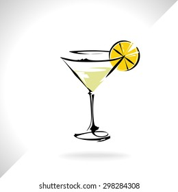 A glass of liqueur with lemon, vector