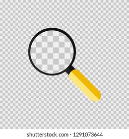 Glass, loupe or search. Yellow Handheld loupe. Transparent background. Find detail. Flat design. Vector illustration EPS 10.