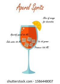 Glass of low alcohol cocktail Aperol Spritz and its recipe on a white background. Flat vector. illustration