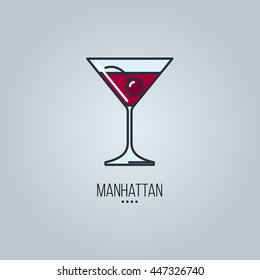 glass of manhattan cocktail vector icon
