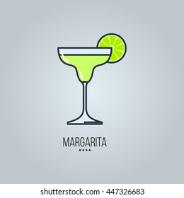 glass of margarita cocktail vector icon