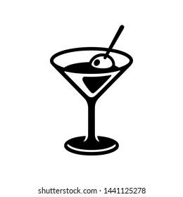 Glass of martini cocktail with olive. Black and white drink icon, simple and stylish bar logo. Isolated vector clip art illustration.