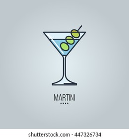 glass of martini cocktail vector icon