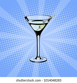 Glass of Martini in pop art style. Pop art halftone background