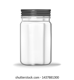 Glass mason jar isolated on white background, vector mock-up. Clear food container with screw metal lid, realistic illustration.
