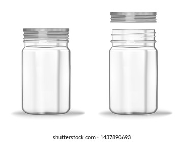 Glass mason jar with screw metal lid, vector mockup. Clear empty food container - closed and opened, realistic illustration.