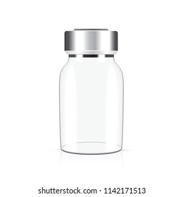 glass medical vial isolated on a white background