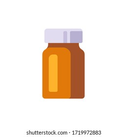 Glass medicine bottle vector illustration. Healthcare flat icon.