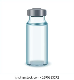 Glass Medicine Vial with aluminium cap. Flu or coronavirus vaccine.Glass Vial of In Injection Solution on white Background.  Vector illustration.