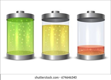 Glass and metal battery icon with charge level isolated on white ba?kground. Vector illustration.