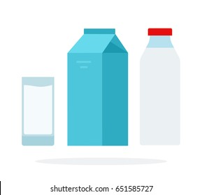 A glass of milk, a bottle of milk and a carton of milk vector flat material design isolated on white