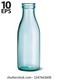 Glass milk bottle. Empty, clear on white. Vector 3d illustration