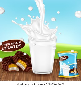 Glass with milk and chocolate ccokies. Pack design. Realistic vector.