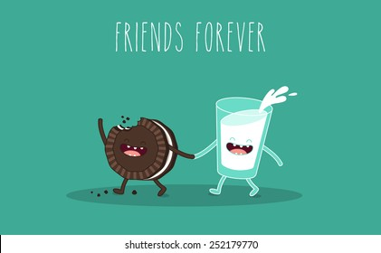 Glass of milk and chocolate cookies. Breakfast. Vector cartoon. Friends forever. comic characters.