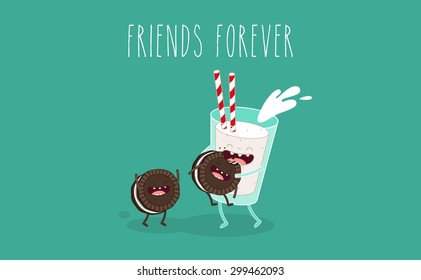 Glass of milk and cookies. Friends forever. Breakfast