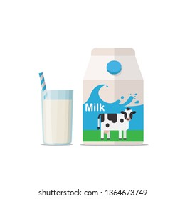Glass of milk with gable top package close up. Cow milk carton and milk cup isolated on white background