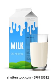 Glass of milk with gable top package close up. Cow milk carton and milk cup isolated on white background. Vector illustration for milk, food service, dairy, beverages, gastronomy, health food, etc